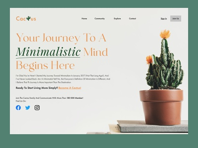 Minimalist Cactus minimalist calm relaxing nature flower plant community books journey green cactus web vector figma ux ui web design website minimal clean