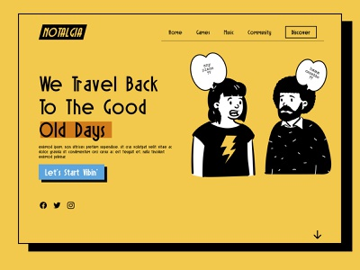 notalgia website 60s nostalgic nostalgia vintage yellow old style old fashioned oldschool retrowave retro design 80s retro typography ui ux vector illustration figma web design website
