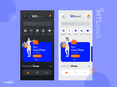 Mobile Dark and light mode ecommerce app ecommerce design white theme black theme light theme dark theme dark mode shopping ecommerce mobile app freebie mobile ux ios ui interaction design dhipu creative dhipu mathew