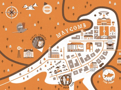 Go Set a Watchman - Illustrated Map maps cartography typography illustration