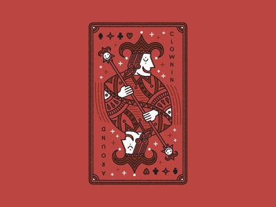 Clowning Around editorial design playingcards illustration