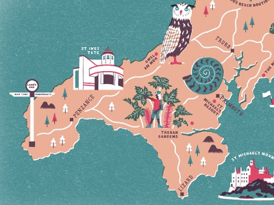 Family Traveller Cornwall Map - Shot 1 mapdesign cornwall cartography maps illustration