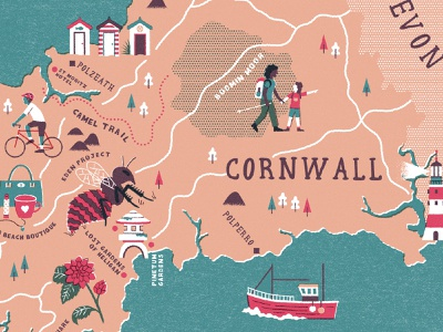 Family Traveller Cornwall Map - Shot 2 cornwall mapdesign cartography maps illustration