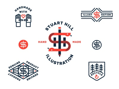 Stuart Hill Illustration monogram pencil snake symbol mark illustration logo