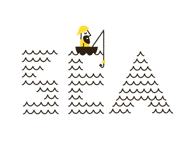 Sea fisherman doddle illustration sea waves