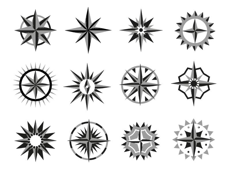 Compasses maps illustration design compass
