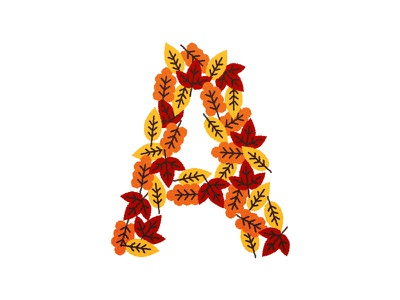 A for Autumn illustration letter typography autumn