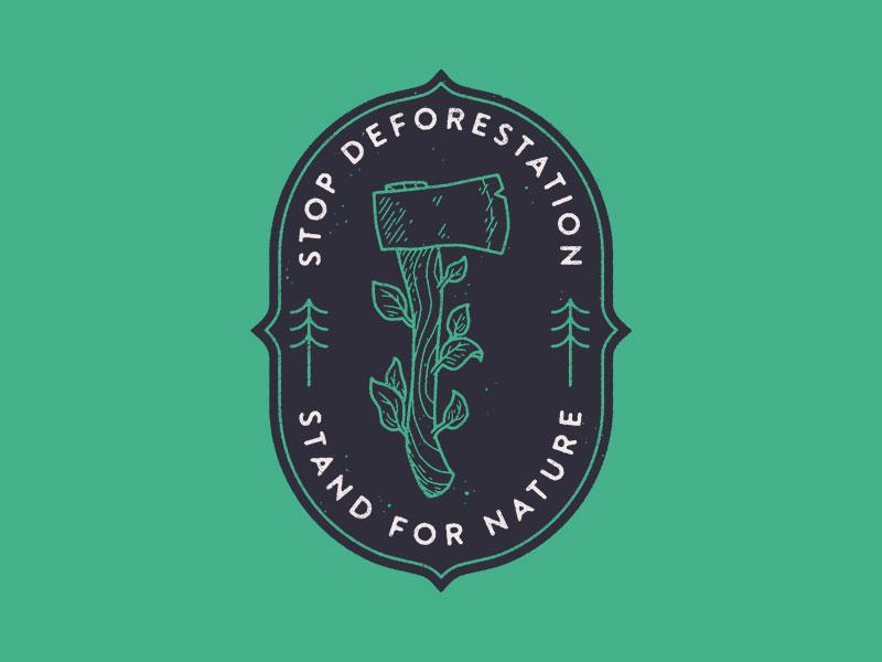 Stop Deforestation chris lago icon illustration nature leaf tree monoline logo patch badge forest axe