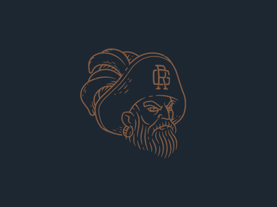 Pirate Captain beard barber grooming pirate branding logo patch badge drawing illustration hand drawn line work