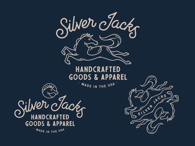 Silver Jacks pattern line work hand drawn illustration drawing badge patch logo branding horse