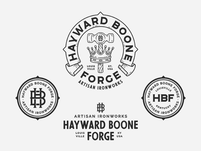 Hayward Boone Forge hammer king line work hand drawn illustration drawing badge patch logo branding monogram lettering