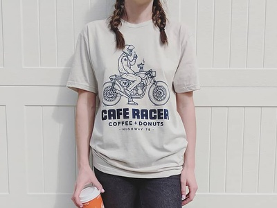 Cafe Racer - T-shirts lettering monogram branding logo drawing illustration hand drawn line work apparel coffee cafe racer motorbike