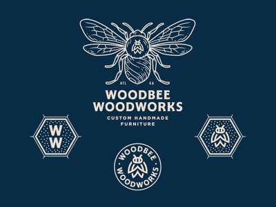 Woodbee Woodworks line artwork pattern bee monogram graphic design lettering typography design branding hand drawn badge logo drawing illustration