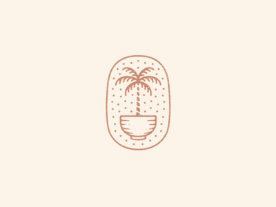 Palm Tree Bowl food bowl palm tree line graphic design artwork badge drawing design branding hand drawn logo illustration
