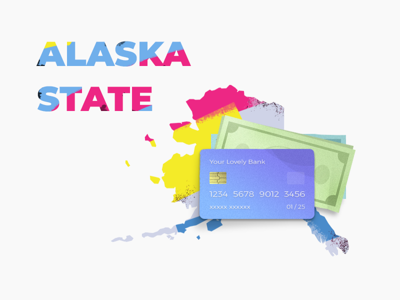 Alaska cash loan type dollar finance usa state alaska money credit card illustration