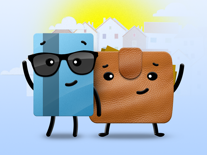 Thanks! glasses card hero character leather credit loan economy coin finance cash money wallet illustration