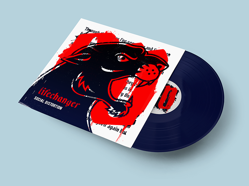 Lifechanger cover, face design type typografy album beast gothic tattoo jaws aggressive illustration rock punk metal lifechanger social distortion fan art cover music vinyl panther