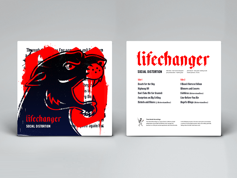 Lifechanger album cover, back design type typografy album beast gothic tattoo jaws aggressive illustration rock punk metal lifechanger social distortion fan art cover music vinyl panther