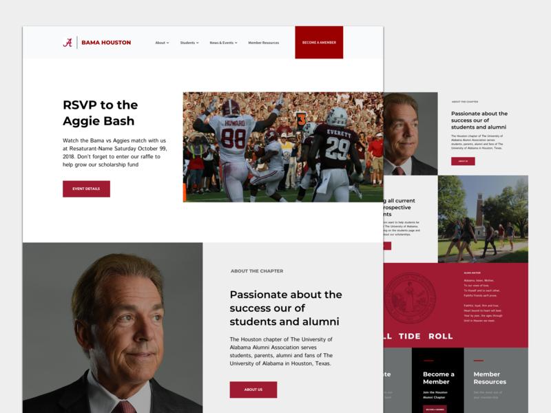 Bama Alumni Chapter Website roll tide university of alabma community group collegiate design web design digital