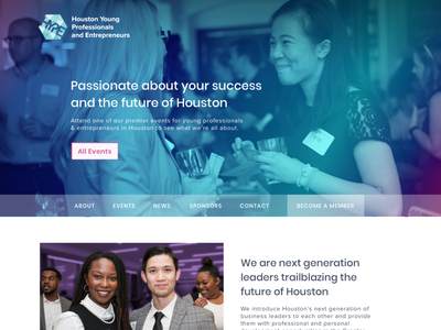 HYPE, Houston Young Professionals & Entrepreneurs, website user-centered design ui ux design drupal website houston young professionals community group web  design