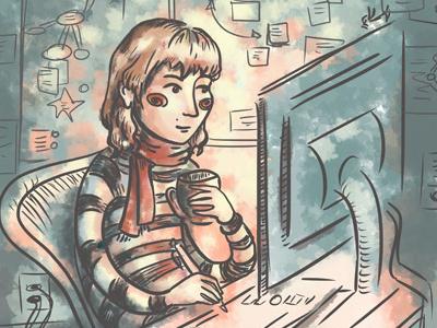 Warm glow illustration self portrait