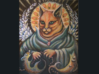Saint Waffle cat painting oil