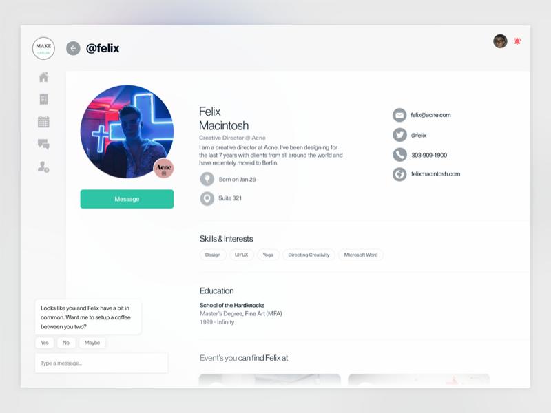 Profile profile design dashboard ux ui