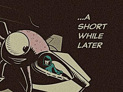 A short while later alien large staring eye spaceship