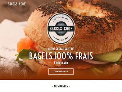 BagelsKook. bagel food landing one-page website orange