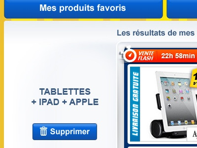 Bookmarked products on iPad app for Cdiscount app ipad ecommerce cdiscount