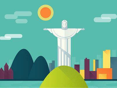 Rio rio de janeiro brazil landscape town city vector travel christ illustration ui web mobile