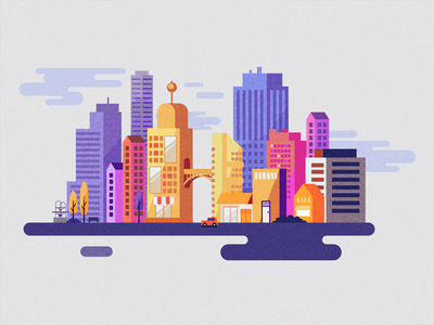City city vector landscape grain illustration skyscrapers
