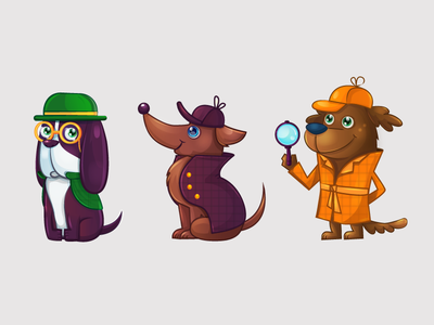 Dogs detectives ios cartoon ipad illustration dog vector character art game