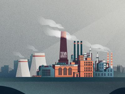 Factory industrial web illustration vector retro pharmacies factory