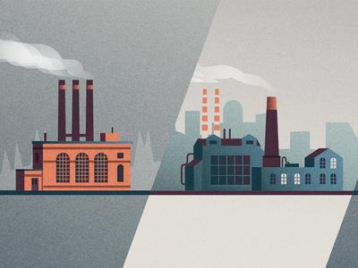 Industrial revolution  vector web retro illustration industry industrial factory