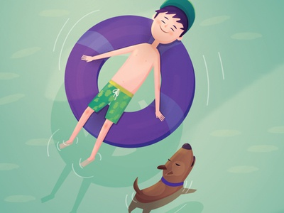 Sunny days book childhood child sea summer swim pool water dog boy character illustration