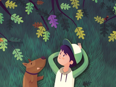 Under the tree grass tree fairytales kinds book childhood happy dog boy character illustration