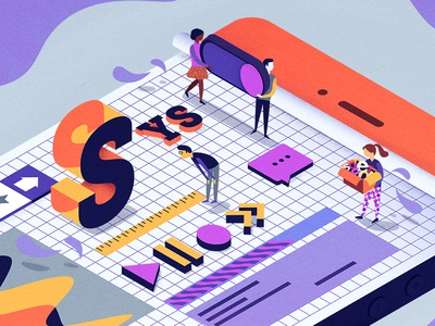 Design System grid people isometric isometry mobile editorial system design ui illustration