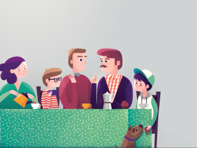 Father's guests tea family book children kids illustration