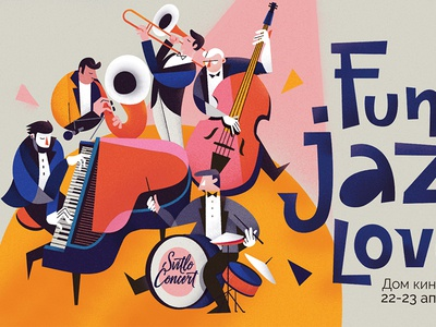 Funk Jazz Love piano concert illustration love funk music jazz poster