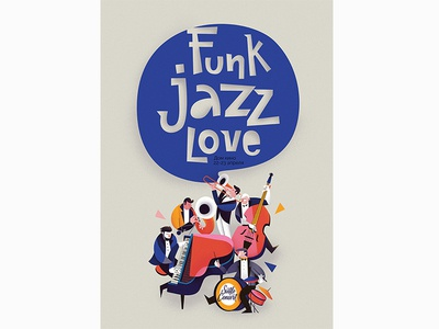 Jazz poster musician lettering piano concert illustration love funk music jazz poster