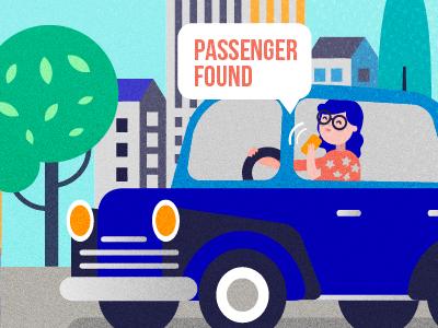 Driver character illustration web phone flat vector sharing car driver