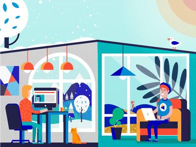 Homes  vector illustration web characters sharing winder summer home