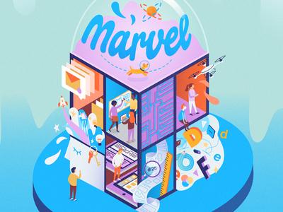 Funhouse team innovations people illustration vector web ui marvel workspace house isometric