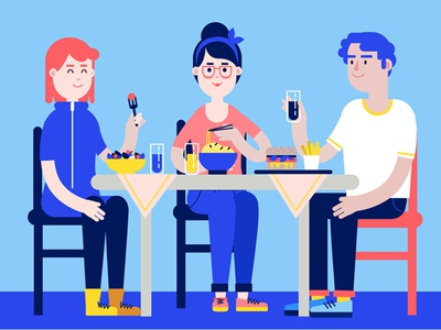 Lunch food work colleague lunch vector character flat