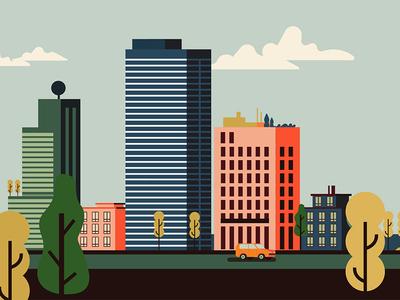 The village illustration vector flat car buildings downtown city town village