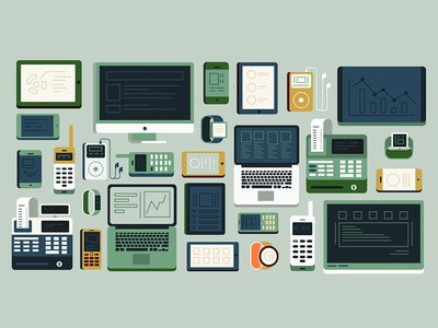 Digital Power vector illustration digital watches smart cash ipad ipod computer phone device