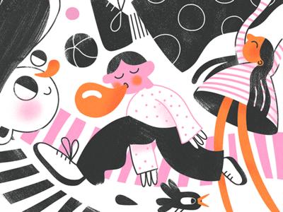 Playground textures fun flat vector character kindergarten children illustration kids