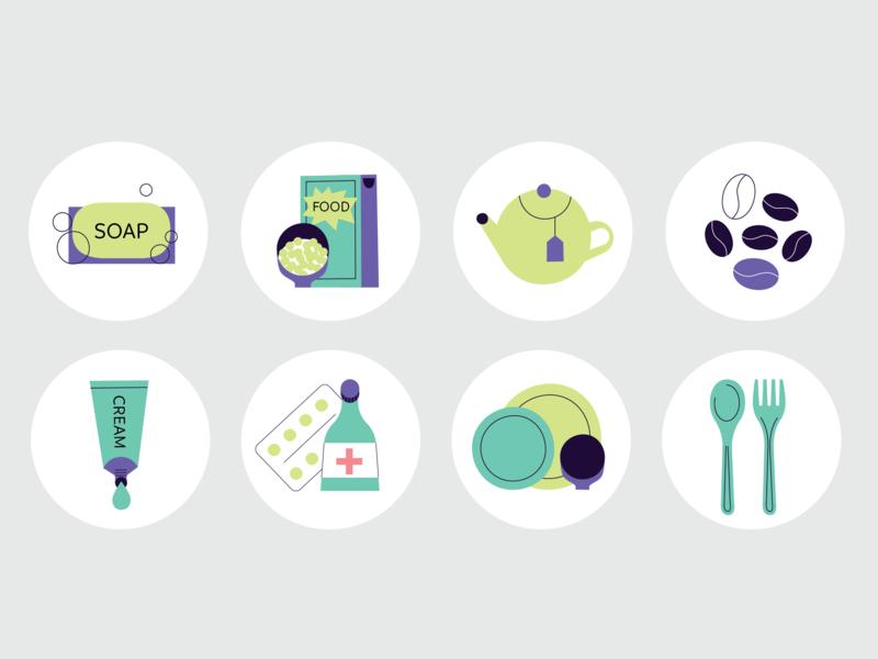 Office stickers kitchen illustration flat office sticker set