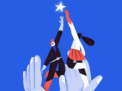 Turn customers into heroes retro posterdesign poster heroes achieve goal teamwork team branding girl design web vector flat illustration